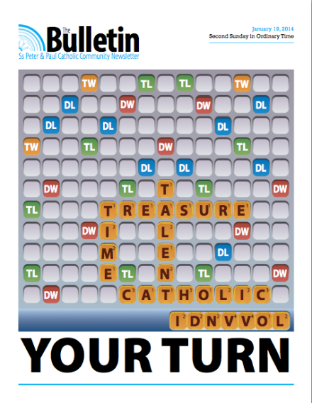 "Adding Curb Appeal: January ""call to stewardship"" bulletin cover is an actual word game!"